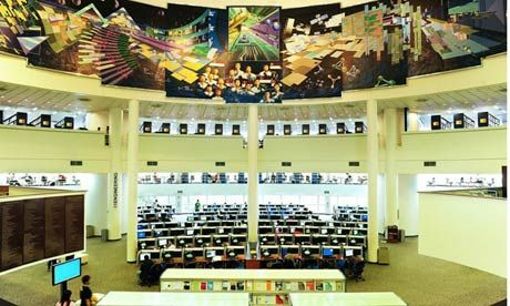 Lee Wee Nam library at Nanyang Technological University, Singapore. Photograph: Nanyang Technological University