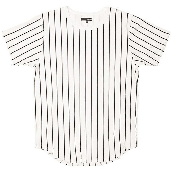 White Baseball Striped Curved Hem Tee ($28) ❤ liked on Polyvore featuring tops, t-shirts, stripe top, baseball top, baseball tee, white stripes t shirt and curved hem tee