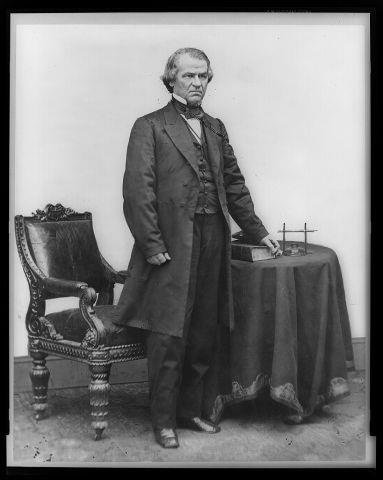 President Andrew Johnson became the 17th president when Abraham Lincoln was assassinated, in 1865.