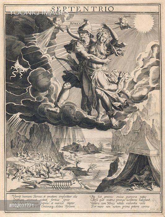 Septentrio Борей, ветер Севера, уносит Oreithyria в темном облаке, в то время как гром, молния и дождь смирить Землю ниже