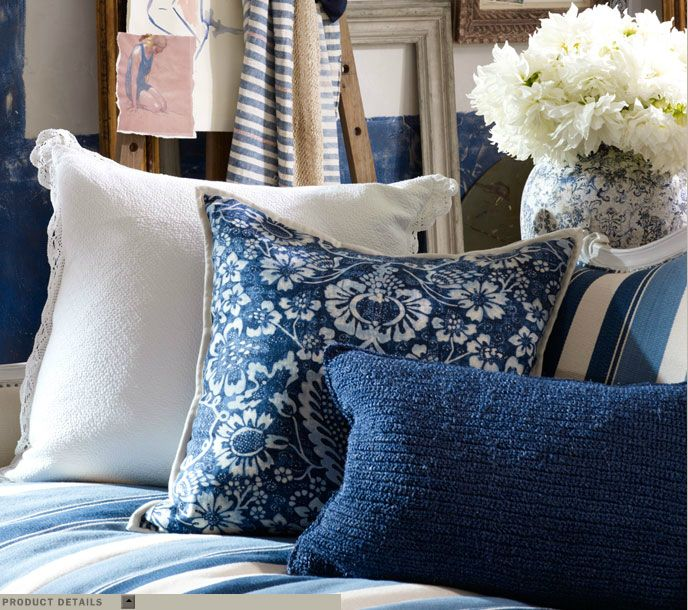 Ralph Lauren Home La Plague Collection French Nautical Seaside Ocean Beach House Style Blue and White