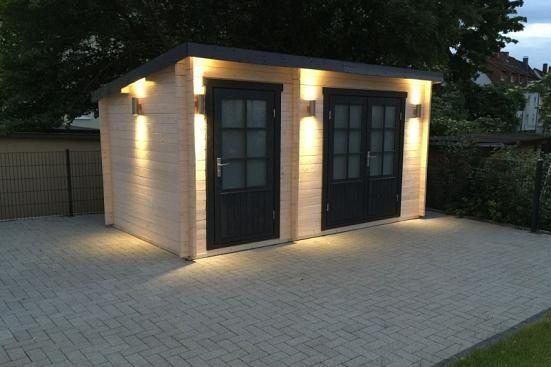 Kundenbild Pultdach Gartenhaus Modell Maria40 mit Anbau