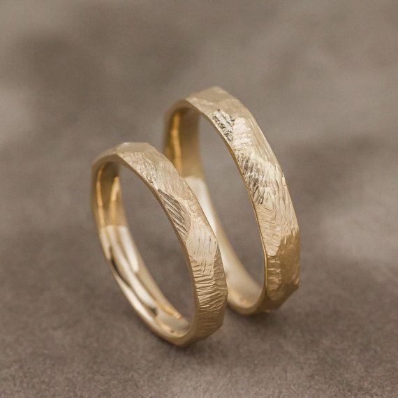 Nira 14K Yellow Gold Wedding Bands, Gold Wedding Rings, Unique Gold Wedding Bands, Textured Gold Wedding Bands, Handmade Jewelry