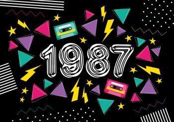 Eighties 1987 | Schrille Farben: Einladungskarte in typisch 80er Look!