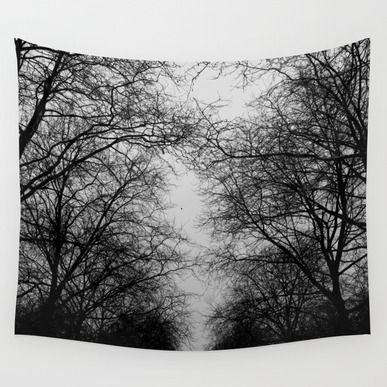 Wall Tapestry featuring Black And White Trees by Habish