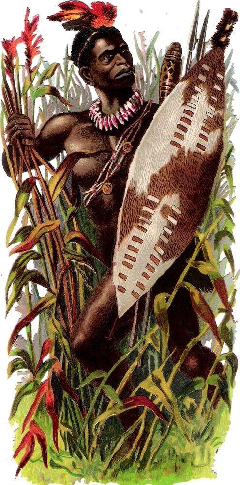 Oblaten Glanzbild scrap die cut chromo Afrikaner  20,3 cm schwarzer african man