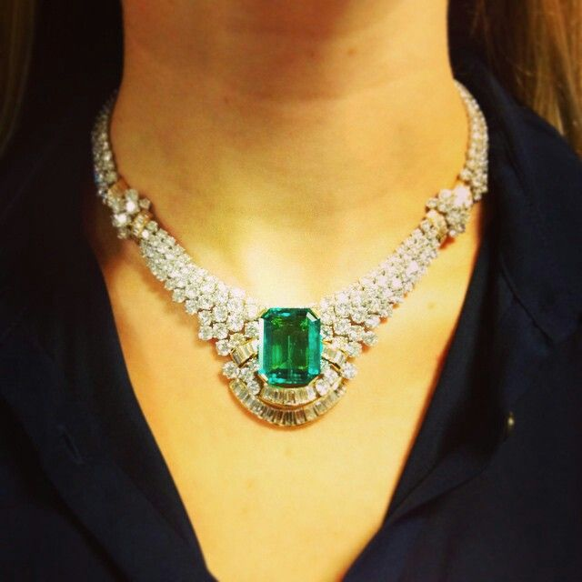 Emerald and diamond necklace set with a rectangular-cut emerald of approximately 29.17 carats, circa 1980. Contact: jbrunie@christies.com. #ChristiesJewels