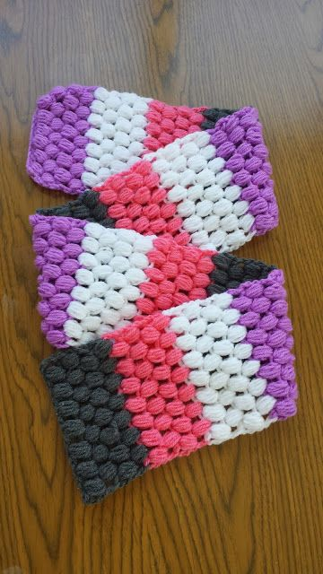 Puff Stitch Striped Crochet Scarf