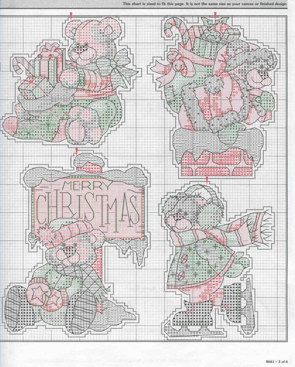 Beary Merry Christmas, plastic canvas, chart, page 3/3