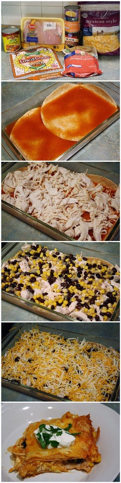 Skinny Chicken Enchilada Casserole - Muchtaste (success: used 1 lb ground chicken seasoned with taco seasoning, Mexican style corn)