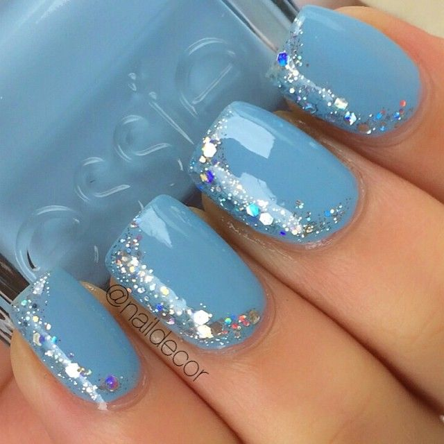Sideways French tip nail art