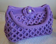 Crochet Handbag - Lilac - Medium