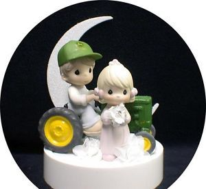 John Deere Cake Toppers | ... -Moments-Country-Western-John-DEERE-Tractor-Wedding-Cake-Topper-Grren