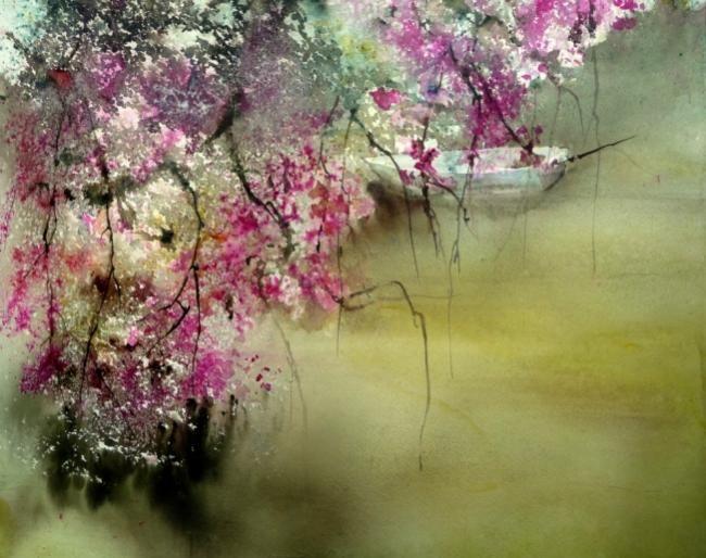 Sakura ( détail) - Painting,  80x100 cm ©2009 par Reine-Marie PiNCHON -  Peinture