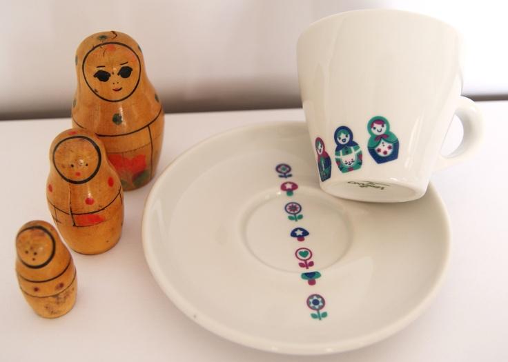 Taza de Café de Porcelana con diseño de Las Nereidas.
