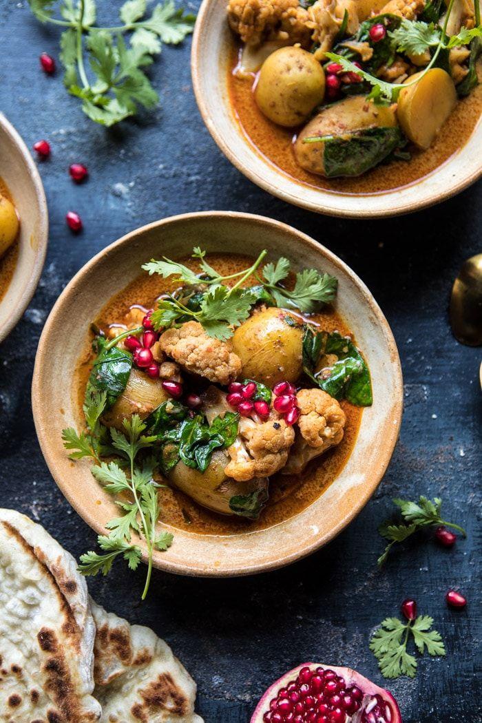 Slow Cooker Potato and Cauliflower Curry | halfbakedharvest.com @hbharvest via @hbharvest
