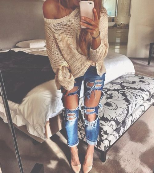 Big, comfy sweater with a broke-in pair of destroyed jeans = awesome outfit :)  -nikkibrawn-