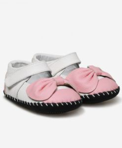 Little Blue Lamb | Rosie | Baby girls shoes Sweet leather mary janes with pink bow detail.