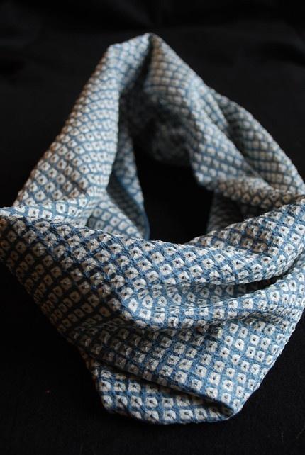 Vintage Japanese Kimono Fabric Infinity Scarf - Blue Shibori