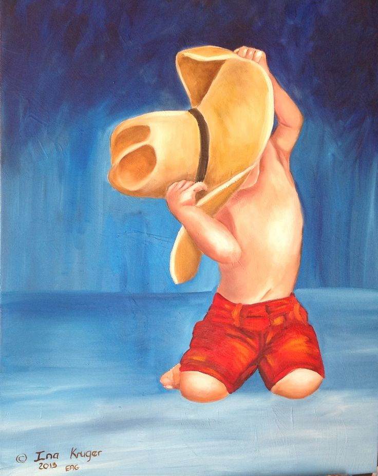 Childs play with an hat - oil on canvas by Ina Kruger