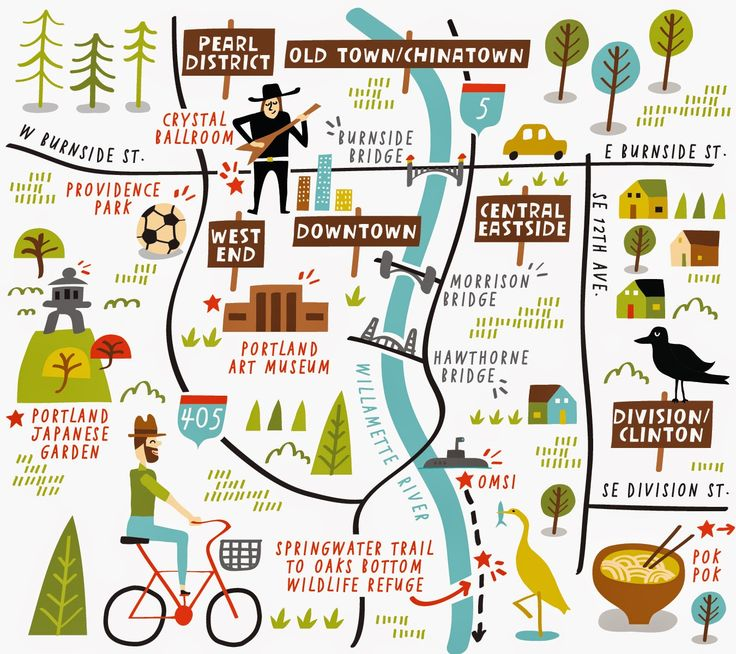Illustrated map of Portland by Nate Padavick www.idrawmaps.com