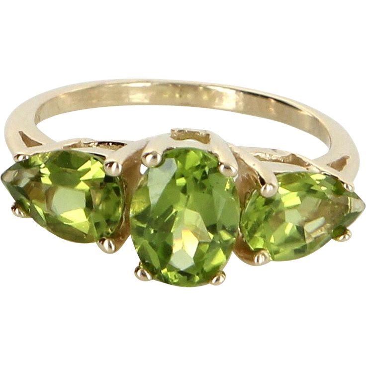 Peridot Cocktail Ring Vintage 14 Karat Yellow Gold Estate Fine Jewelry Pre Owned Sz 6