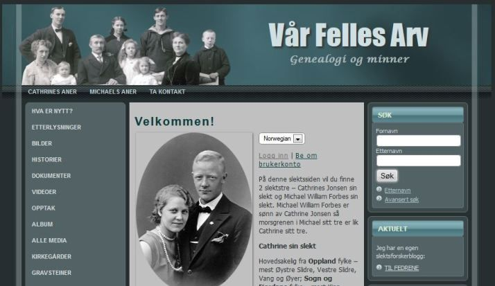 My Family page with thousands of persons of my Norwegian Family. Nettsiden min #genealogy, #slekt #Norway