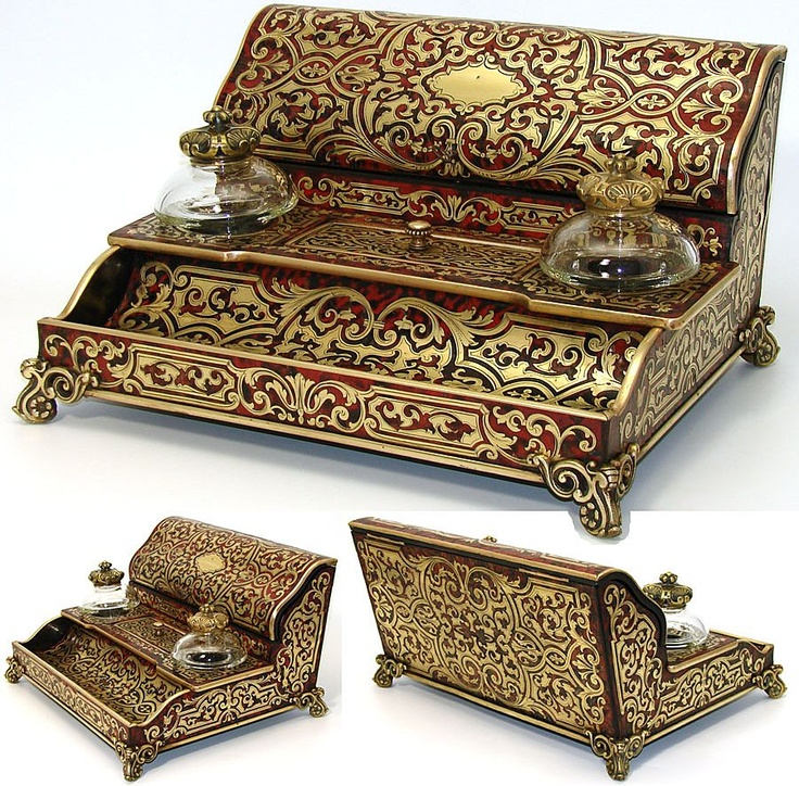 "Antique French Boulle 12"" Writer's Box, Inkwell & Stationery: Marked TAULIN, Palais Royal"