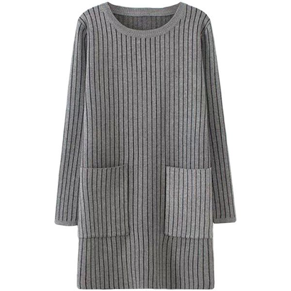 Gray Womens Striped Thick Pockets Long Sleeve Sweater Dress ($40) ❤ liked on Polyvore featuring dresses, grey, tops, stripe dress, grey dress, pocket dress, long sleeve dresses y gray dress