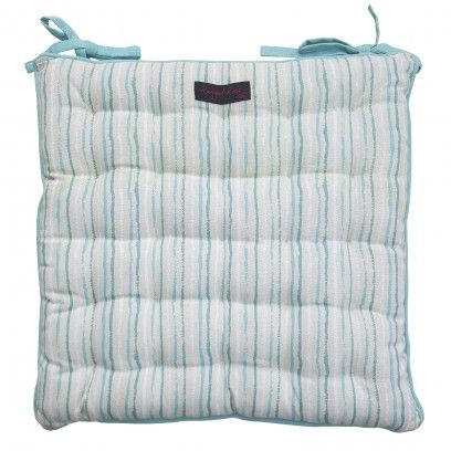 Duck egg blue striped seat pad for square chairs. Perfect for the garden or the kitchen chairs - 100% cotton fabric - Quilt tucked stitching throughout - Extra ties - Size 40cm x 40cm - Machine washable but treat gently, do not spin - Matching products available including table linen and cushions