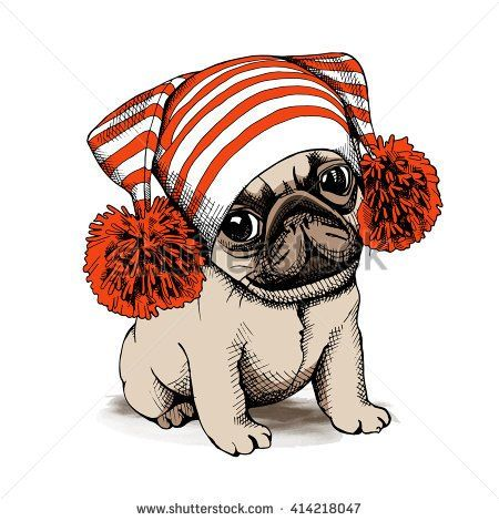 Puppy Pug in a hat with Pom pom. Vector illustration.
