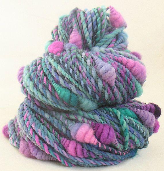 Art Yarn handspun handdyed Merino wool with coils