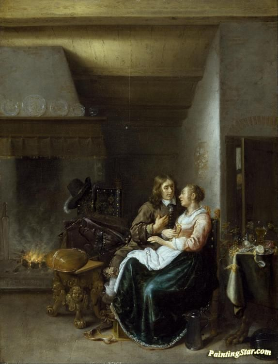 A couple in an interior Artwork by Jan Miense Molenaer Hand-painted and Art Prints on canvas for sale,you can custom the size and frame