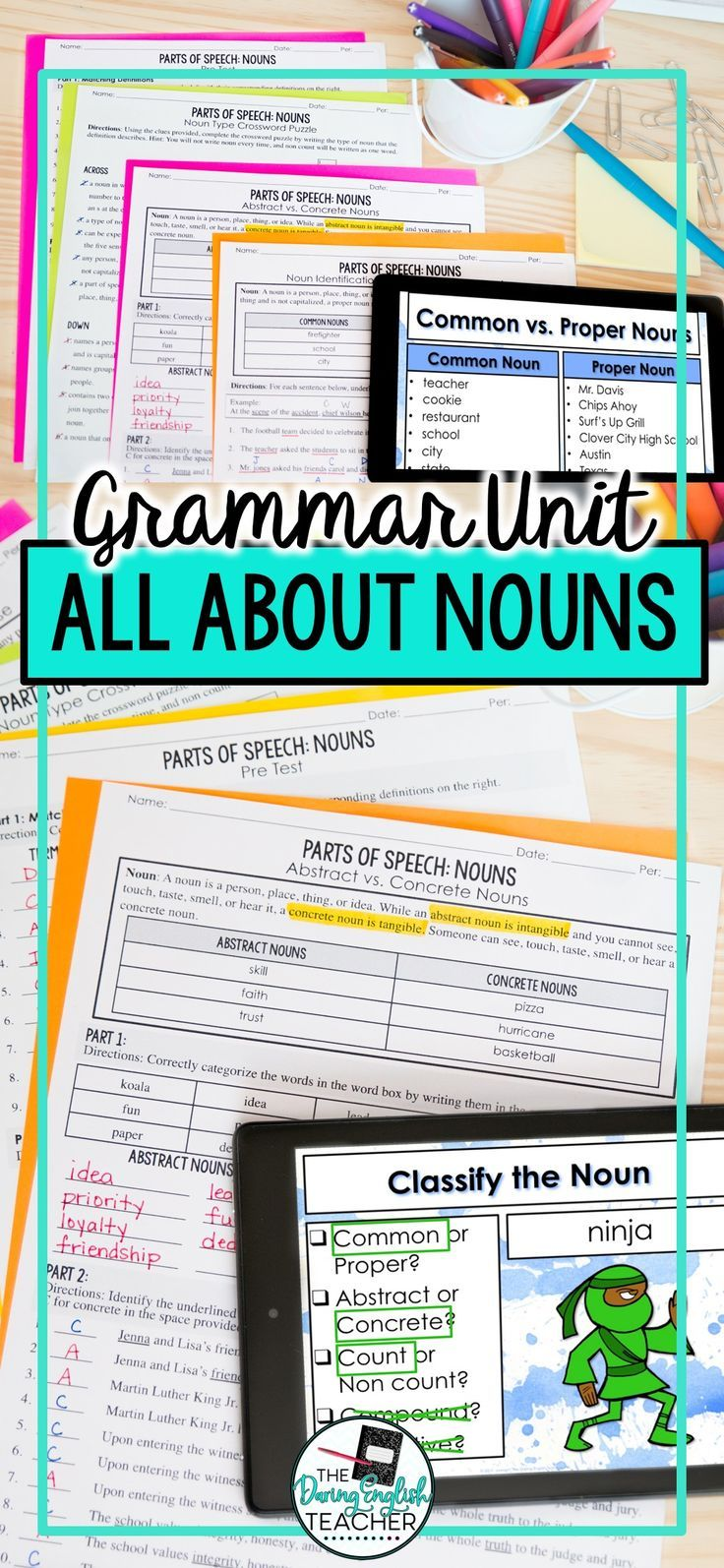 Nouns as a Part of Speech: PowerPoint, Worksheets, Tests