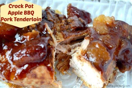 Crock Pot Apple BBQ Pork Tenderloin -- an EASY crockpot recipe with a few pre-prepped ingredients