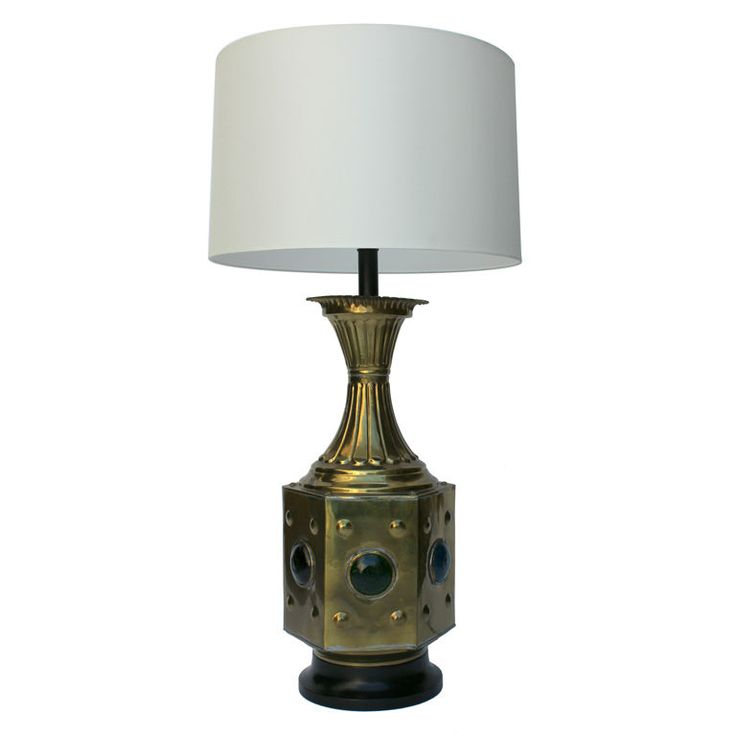 Large Brass And Glass Moroccan Table Lamp