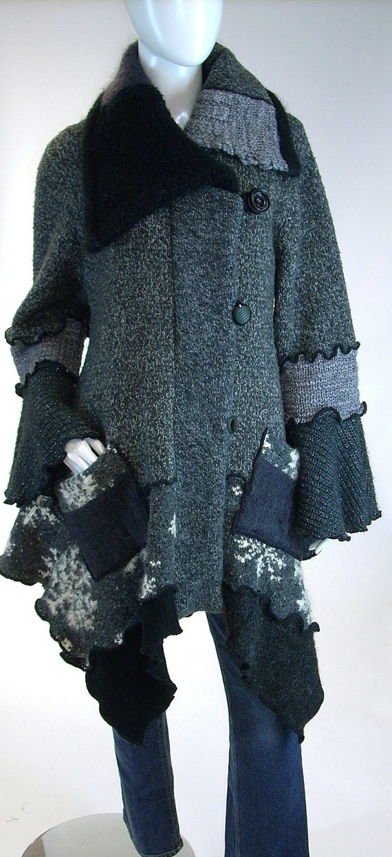 Stylish Upcycle.  Sweater Coat Grey and Black Tweed Snowflake by Brendaabdullah, $395.00