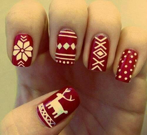 #winteriscomming deer red-white nails