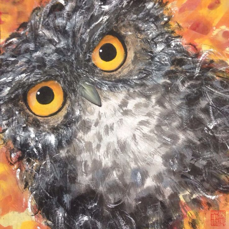 OWL Painting - REGARD Size : W680 x L680mm          ( Include Wooden Frame ) Copyright by: jtcreations.net taywusiew@gmail.com (6)0122677564