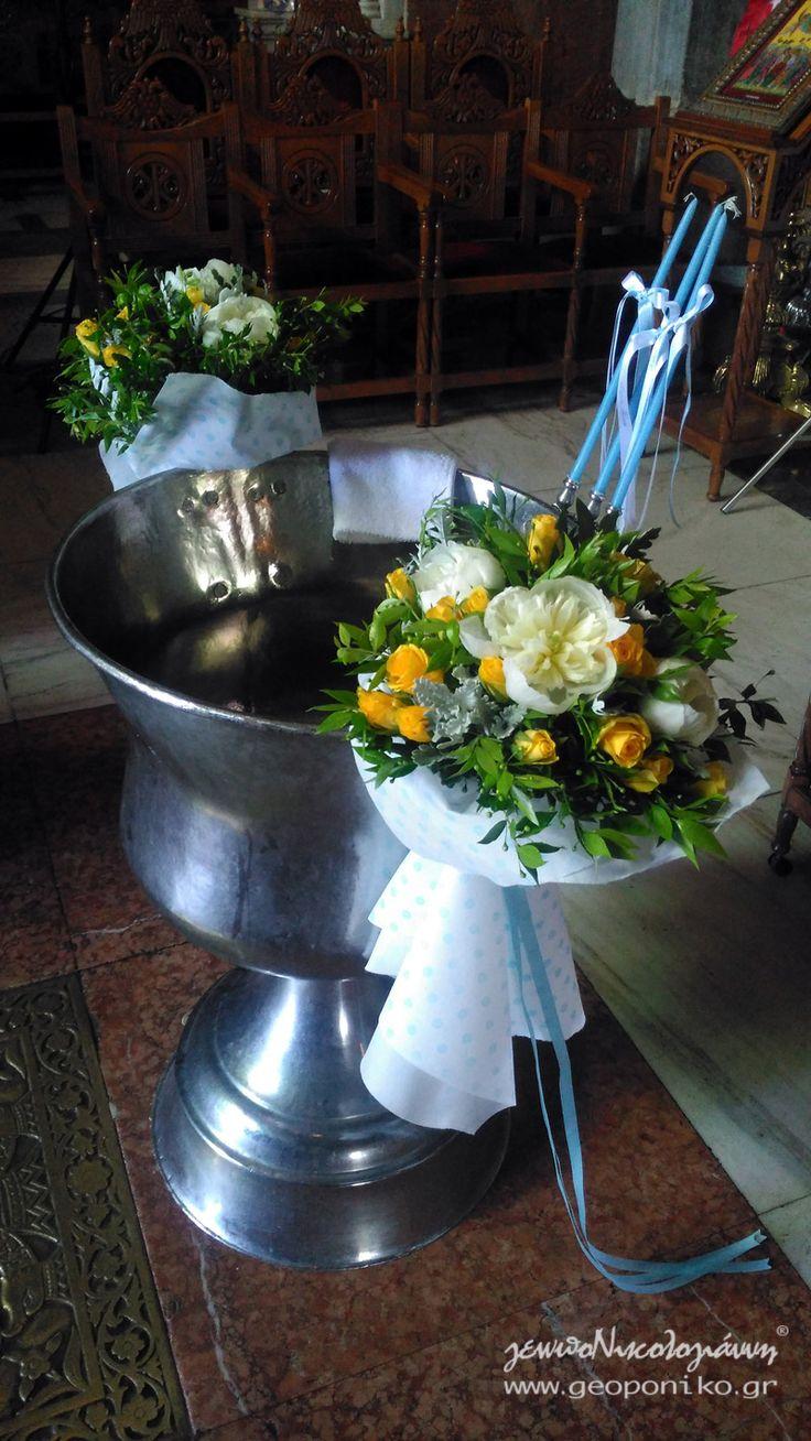 κολυμπήθρα βάφτισης με μπουκέτα, παιώνιες και τριαντάφυλλα