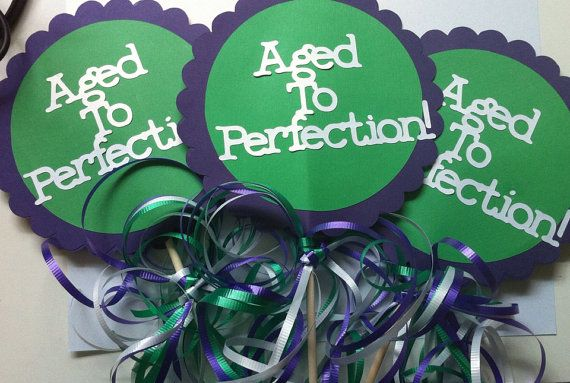 30th 40th 50th 60th 75th Birthday Decorations Centerpiece Signs Aged to Perfection