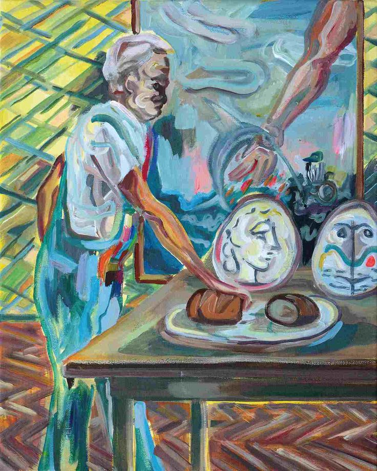 Wolfgang Neumann, Brot von Picassos Tellern, 2014, Acryl und Ölkreide auf Leinwand, 50 x 40 cm // Wolfgang Neumann - Kopfstand. Aras Ören zum 75.Geburtstag, Egbert Baqué Contemporary Art, Berlin.