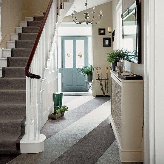 Neutral hallway with diagonal stripes | Modern hallway ideas | Hallway | PHOTO GALLERY | Homes & Gardens | Housetohome.co.uk
