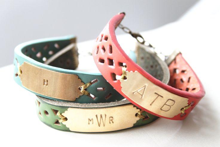 Monogram Coral Leather Bracelet, Initial Bracelet, Personalized Bracelet, Name Bracelet, Custom Name Bracelet. $38.00, via Etsy.