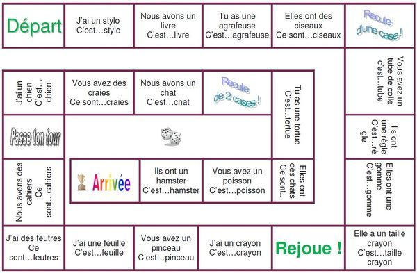 adjectifs possessifs jeu de l' oie