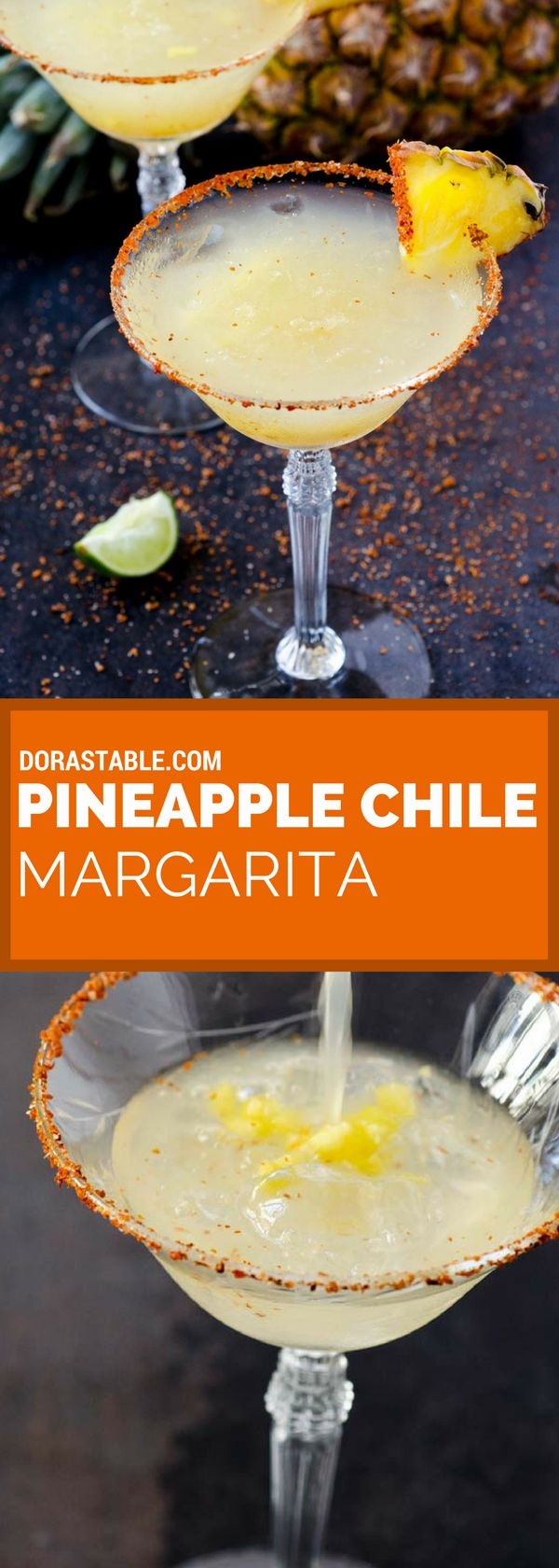 This pineapple chile margarita on the rocks is refreshing, slightly sweet, tart, and a bit spicy. It's hard to have just one! veganmexican | margaritas | cincodemayo | cocktails | tequila