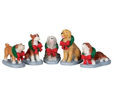 Lemax Village Collection Christmas Pooch, Set of 5 #32138