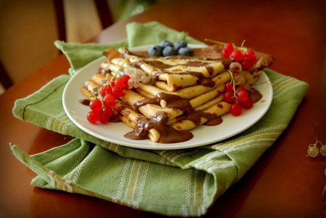 Michel Roux crepes with chocolate sauce and fruits