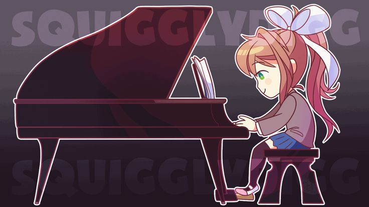 Commission of Monika from Doki Doki Literature Club playing the piano for YouTube musician OR3O! What's it for, exactly? You'll just have to wait and see! :D