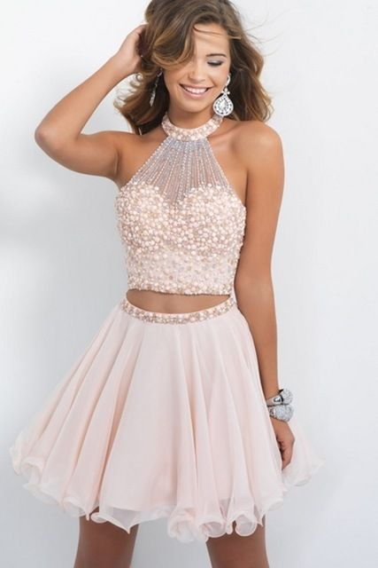Online Shop Light Pink Beaded Cheap Cute 8th Grade Short 2 Two Piece Homecoming Dresses | Aliexpress Mobile